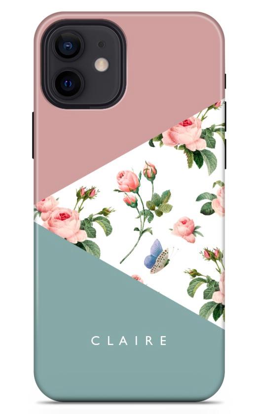 Geo Pink Green Flowers 8765