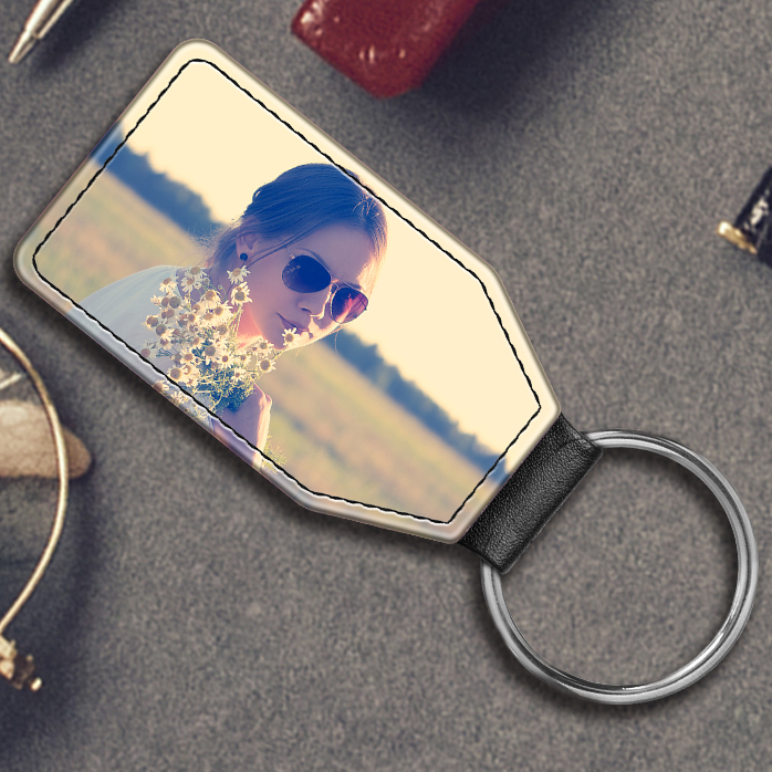 Faux Leather Keyring 3696